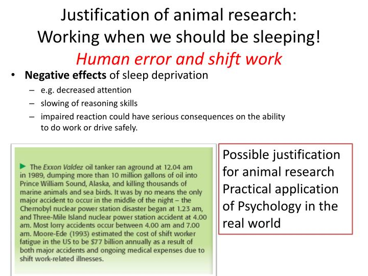 Justification of animal research: