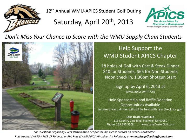 12 th annual wmu apics student golf outing