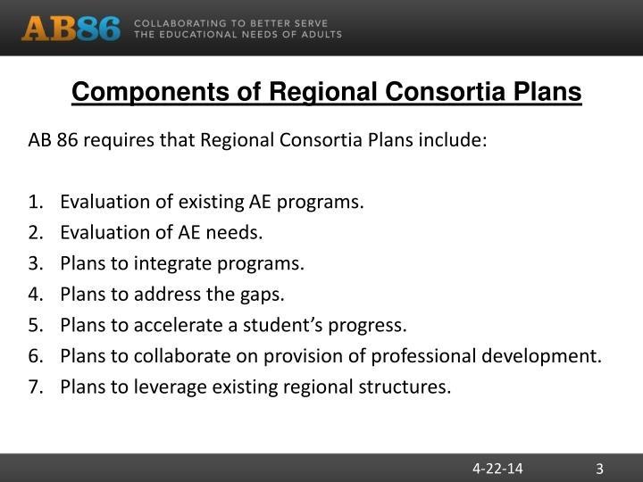 Components of regional consortia plans