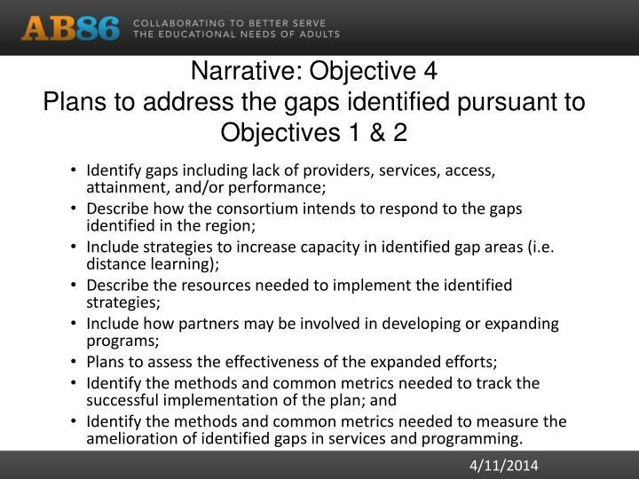 Narrative: Objective 4
