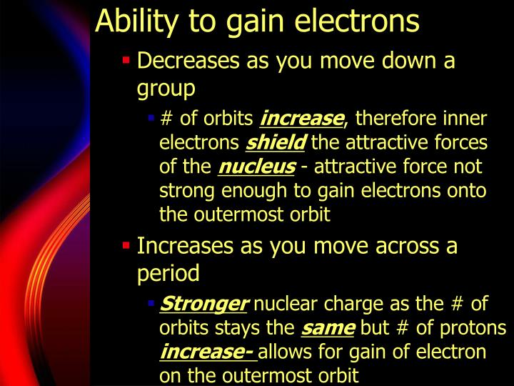 Ability to gain electrons