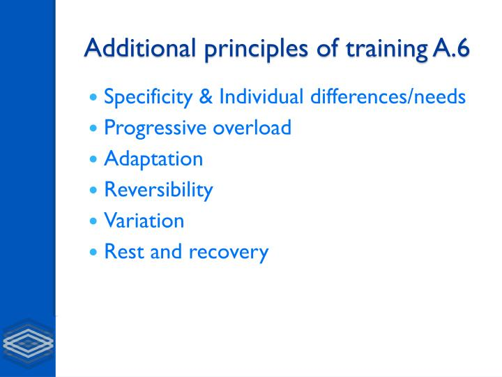 Additional principles of training a 6