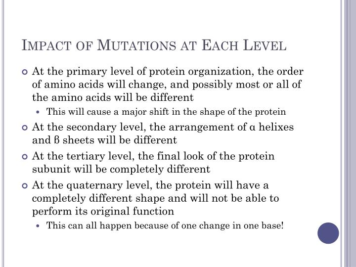 Impact of Mutations at Each Level