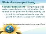 effects of resource partitioning