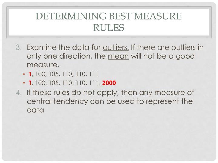 Determining best measure