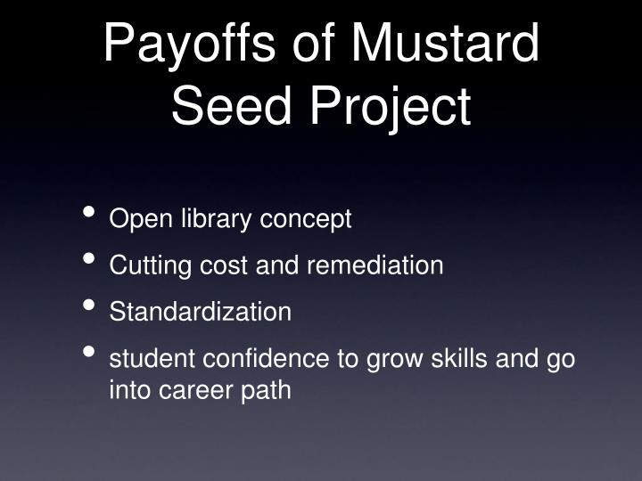 Payoffs of Mustard Seed Project