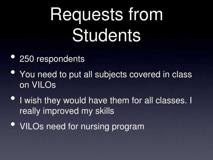 Requests from Students
