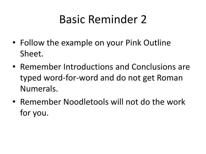 Basic reminder 2