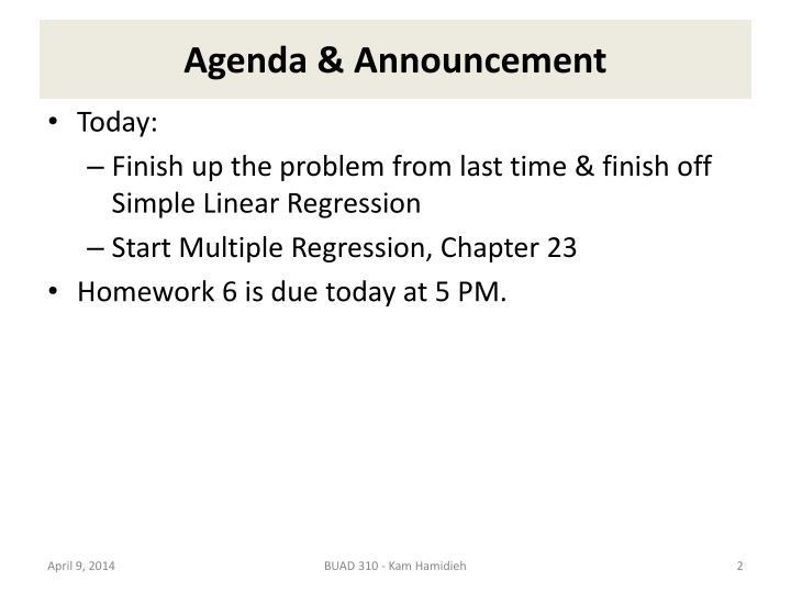 Agenda announcement