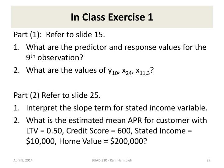 In Class Exercise 1