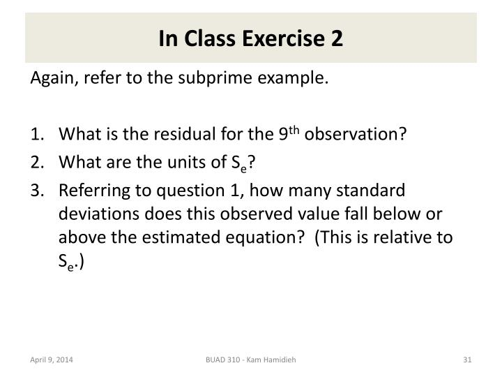 In Class Exercise 2