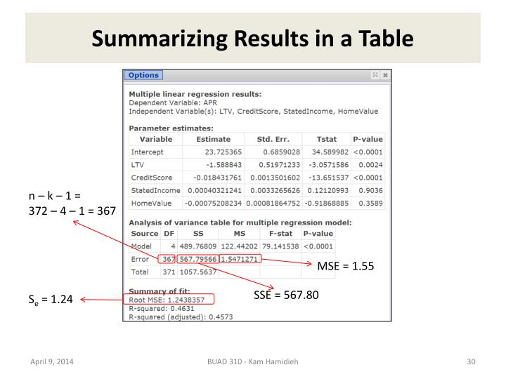 Summarizing Results in a Table