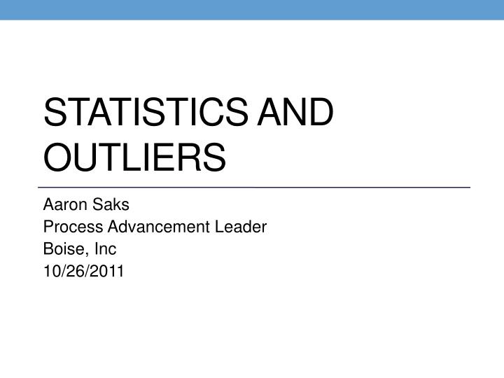 statistics and outliers n.