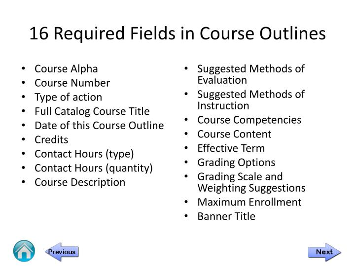 16 required fields in course outlines