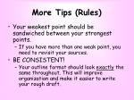 more tips rules