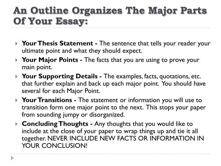 An Outline Organizes The Major Parts Of Your Essay: