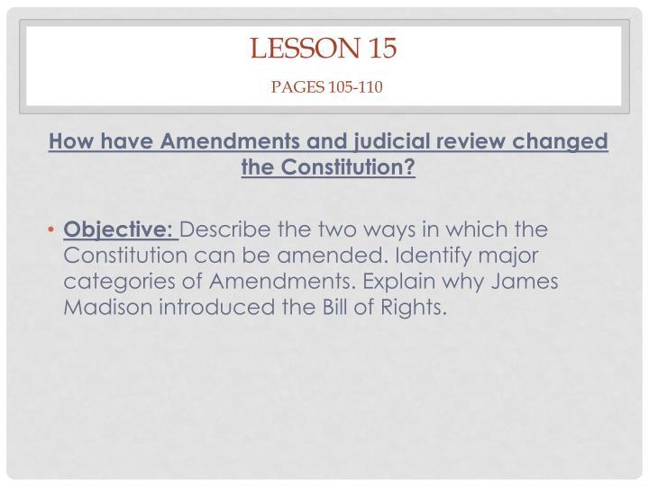 Lesson 15 pages 105 110