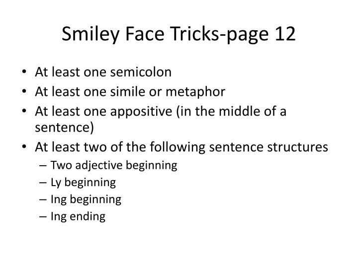 Smiley face tricks page 12