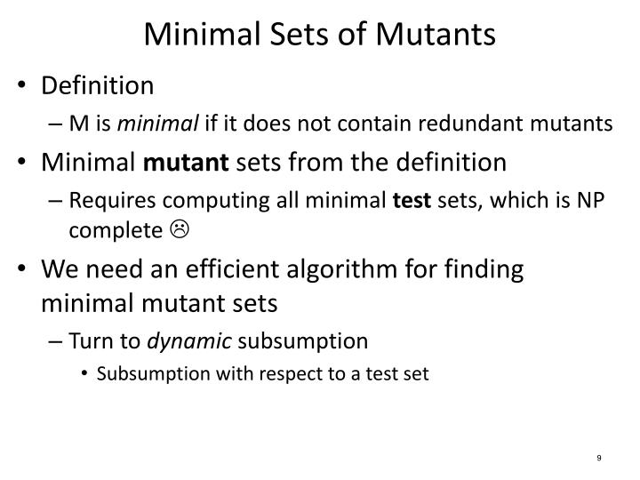 Minimal Sets of Mutants