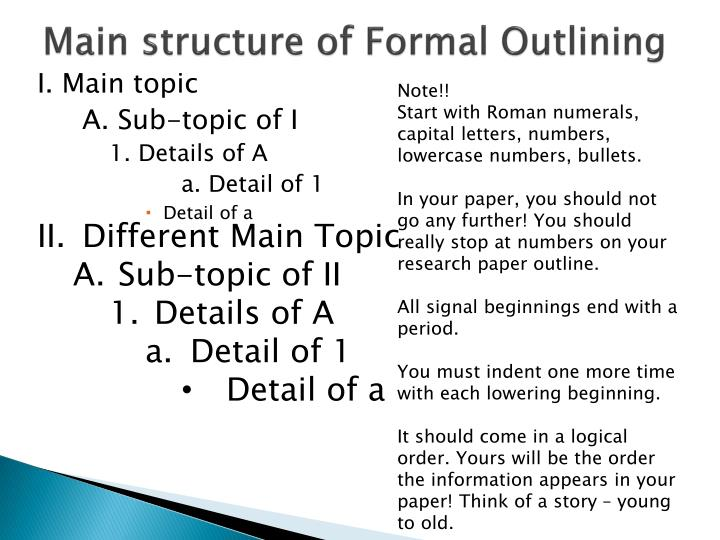 Main structure of Formal Outlining