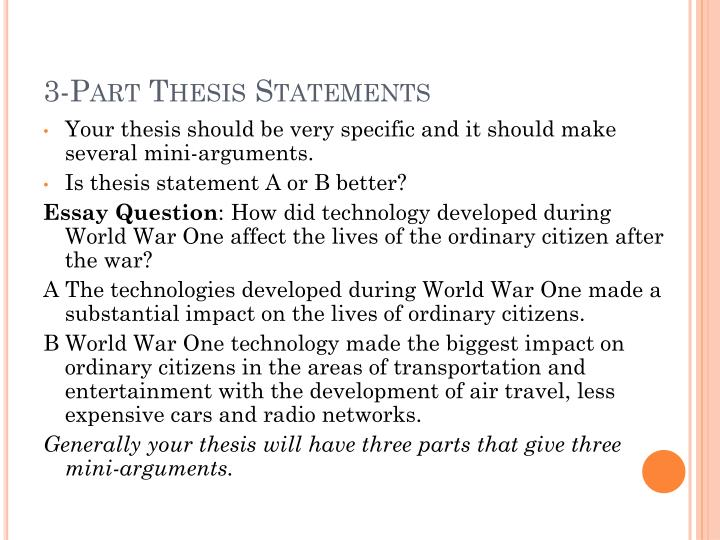 3-Part Thesis Statements