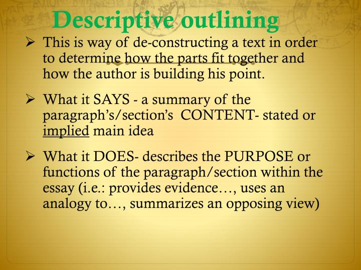 Descriptive outlining