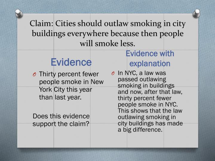 Claim: Cities should outlaw smoking in city buildings everywhere because then people will smoke less.