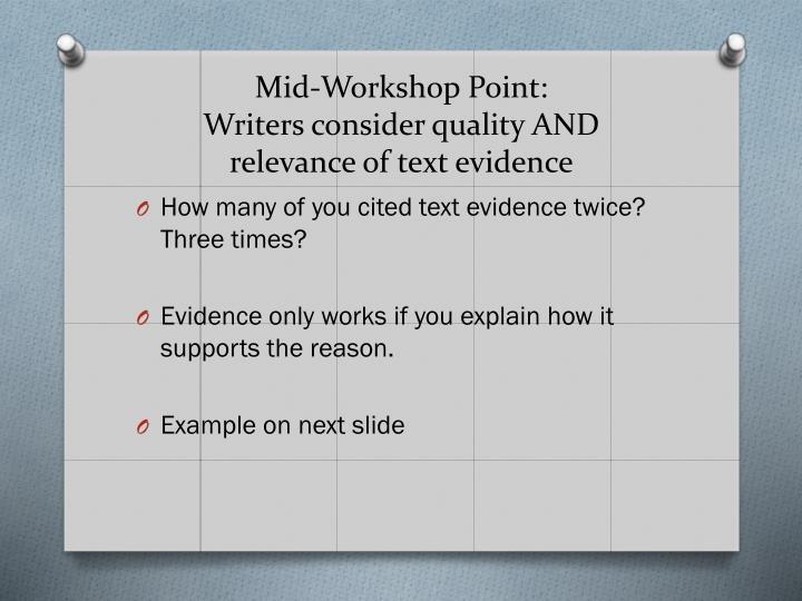 Mid-Workshop Point: