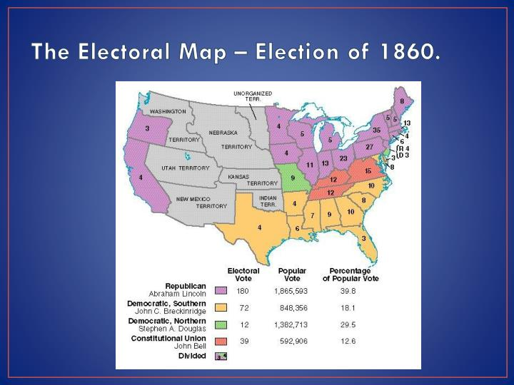 The electoral map election of 1860