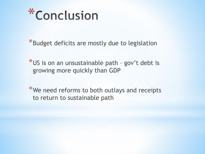 Budget deficits are mostly due to legislation