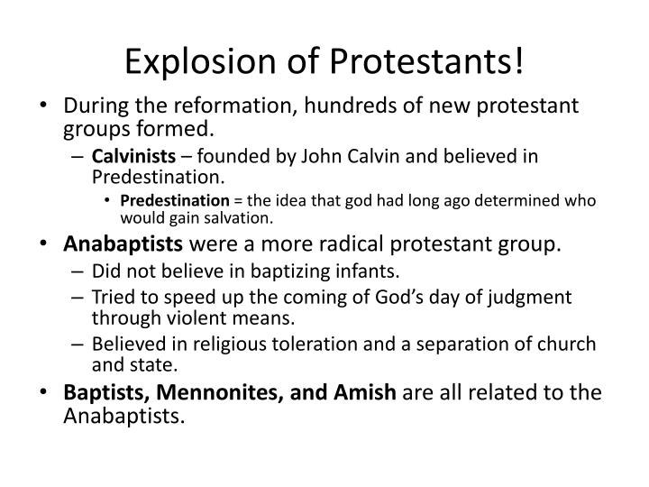 Explosion of protestants