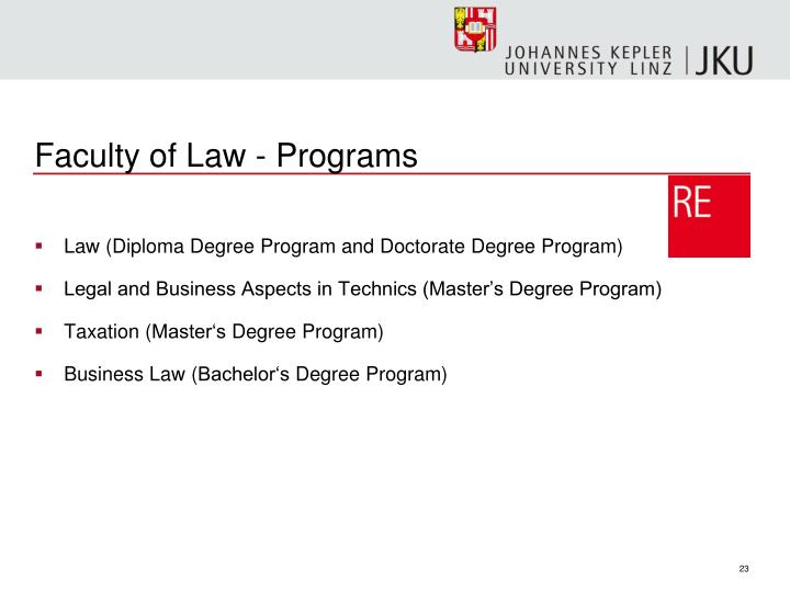 Faculty of Law - Programs