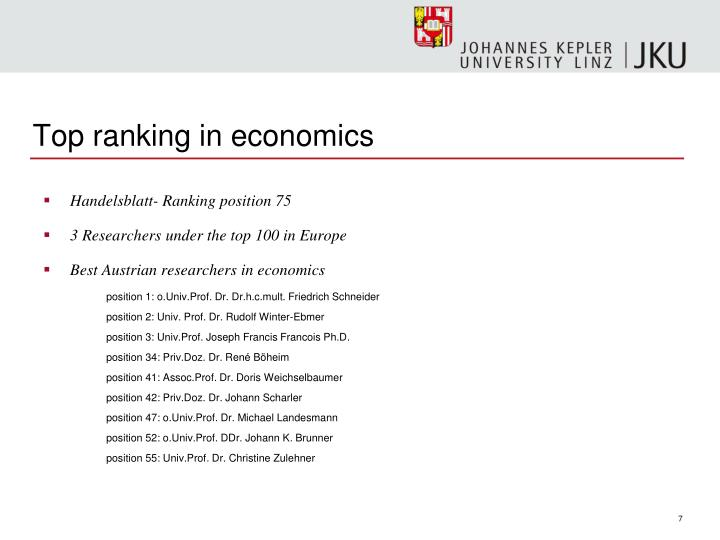 Top ranking in economics