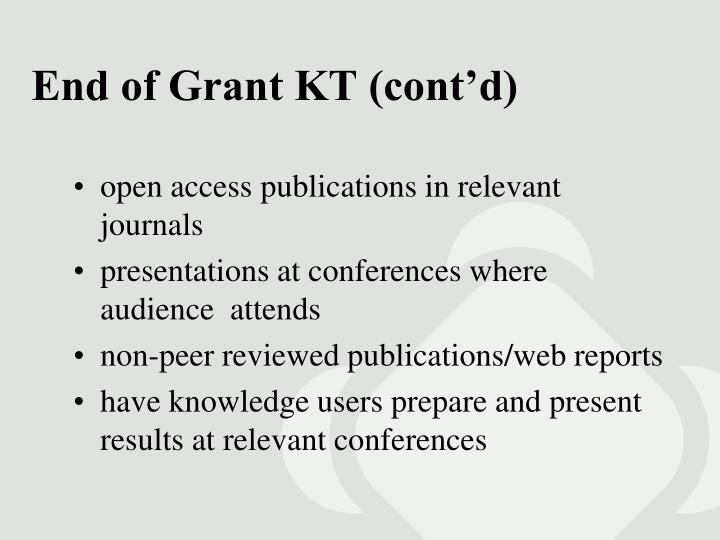 End of Grant KT (cont'd)