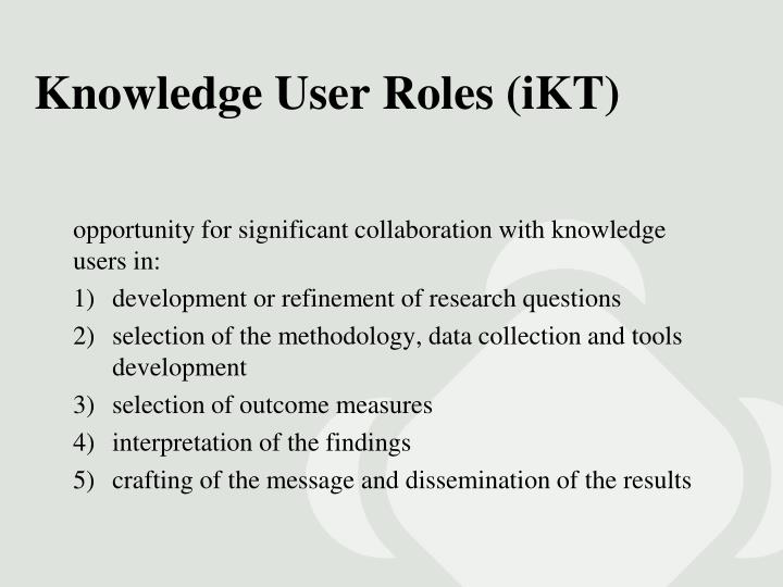 Knowledge User Roles (