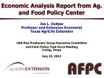 economic analysis report from ag and food policy center