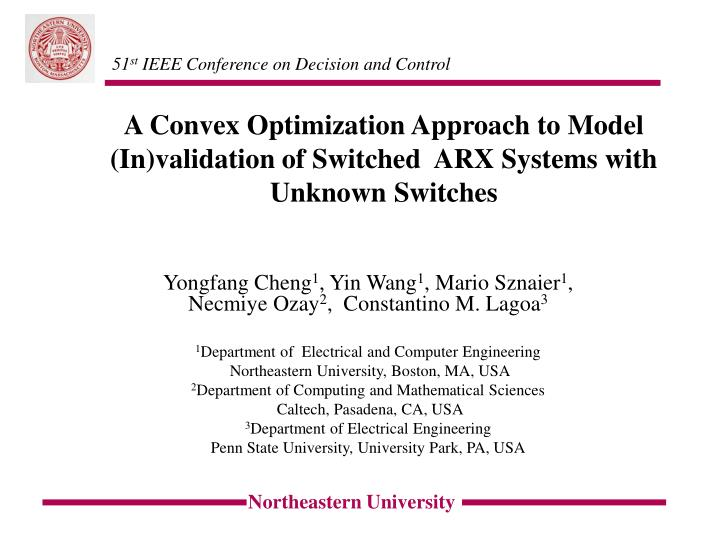 A convex optimization approach to model in validation of switched arx systems with unknown switches