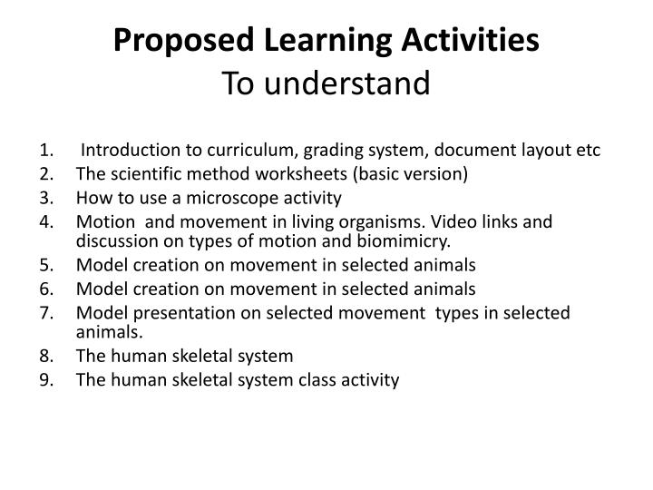 Proposed Learning Activities