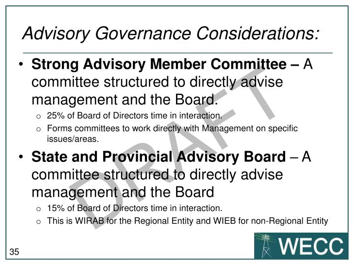 Advisory Governance Considerations: