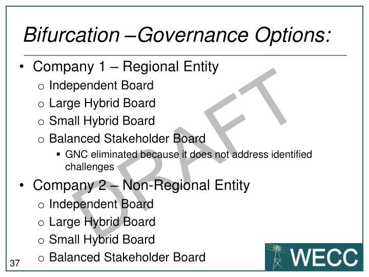 Bifurcation –Governance Options: