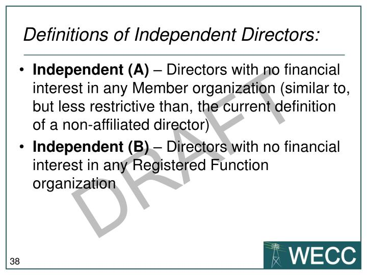 Definitions of Independent Directors: