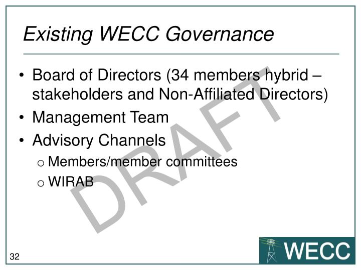 Existing WECC Governance
