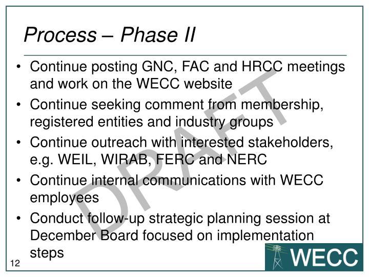 Process – Phase II