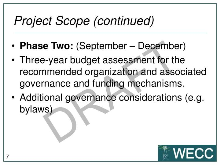 Project Scope (continued)