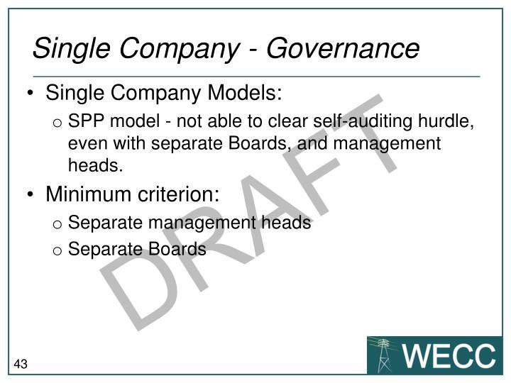 Single Company - Governance