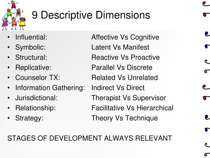 9 Descriptive Dimensions