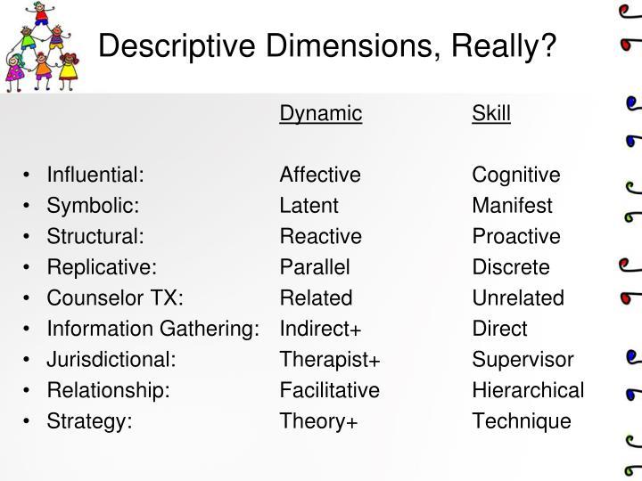 Descriptive Dimensions, Really?