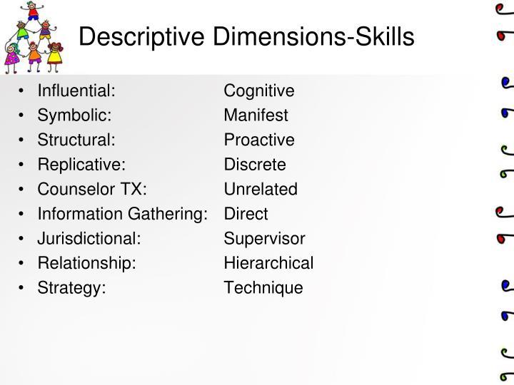 Descriptive Dimensions-Skills