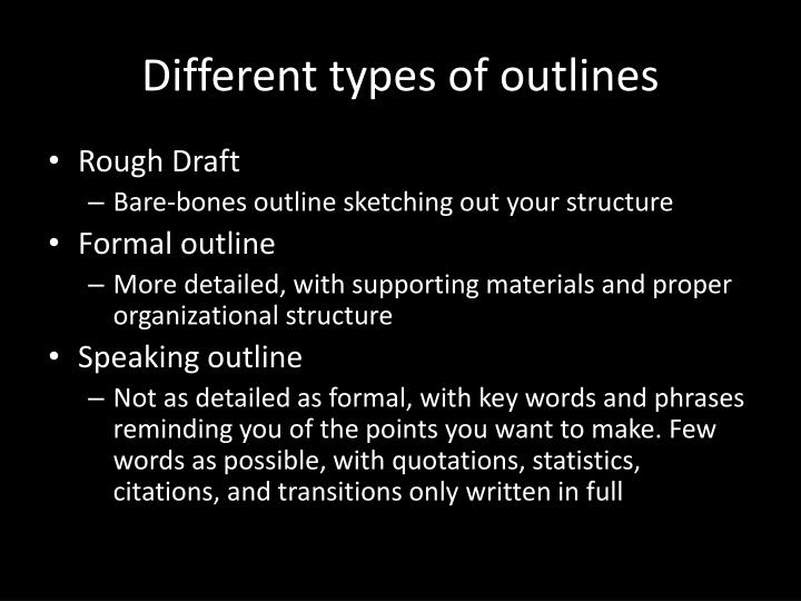 Different types of outlines