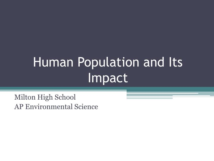 human population and its impact n.